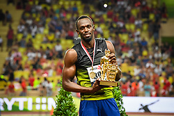 FONTVIEILLE, July 22, 2017  Usain Bolt shows his trophy after the men's 100m final at the IAAF Diamond League Monaco in Fontvieille, Monaco, on July 21, 2017. Usain Bolt won the gold medal with 9.95 seconds. (Credit Image: © Stephane Danna/Xinhua via ZUMA Wire)
