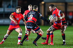Matt Cox of Worcester Warriors is tackled byRhys Buckley of Dragons - Mandatory by-line: Craig Thomas/JMP - 02/02/2018 - RUGBY - Rodney Parade - Newport, Gwent, Wales - Dragons v Worcester Warriors - Anglo Welsh Cup