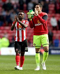 Jermain Defoe of Sunderland and Vito Mannone of Sunderland applaud the fans at full time - Mandatory by-line: Robbie Stephenson/JMP - 13/05/2017 - FOOTBALL - Stadium of Light - Sunderland, England - Sunderland v Swansea City - Premier League