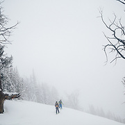 Allie Rood and Tanner Flanagan tour through the mountains off of Teton Pass.