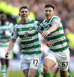 Celtic's Ryan Christie (left) celebrates scoring their third goal against Heart of Midlothian with Kieran Tierney during the Betfred Cup semi final match at BT Murrayfield Stadium, Edinburgh.