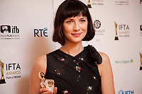 Caitriona Balfe, awarded Best Actress winner for Outlander at the IFTA Film & Drama Awards (The Irish Film & Television Academy) at the Mansion House in Dublin, Ireland, Thursday 15th February 2018. Photographer: Doreen Kennedy