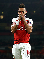 Arsenal's Pierre-Emerick Aubameyang reacts