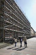 Georgian building on Great Pulteney Street covered in scaffolding undergoing restoration, Bath, Somerset, England