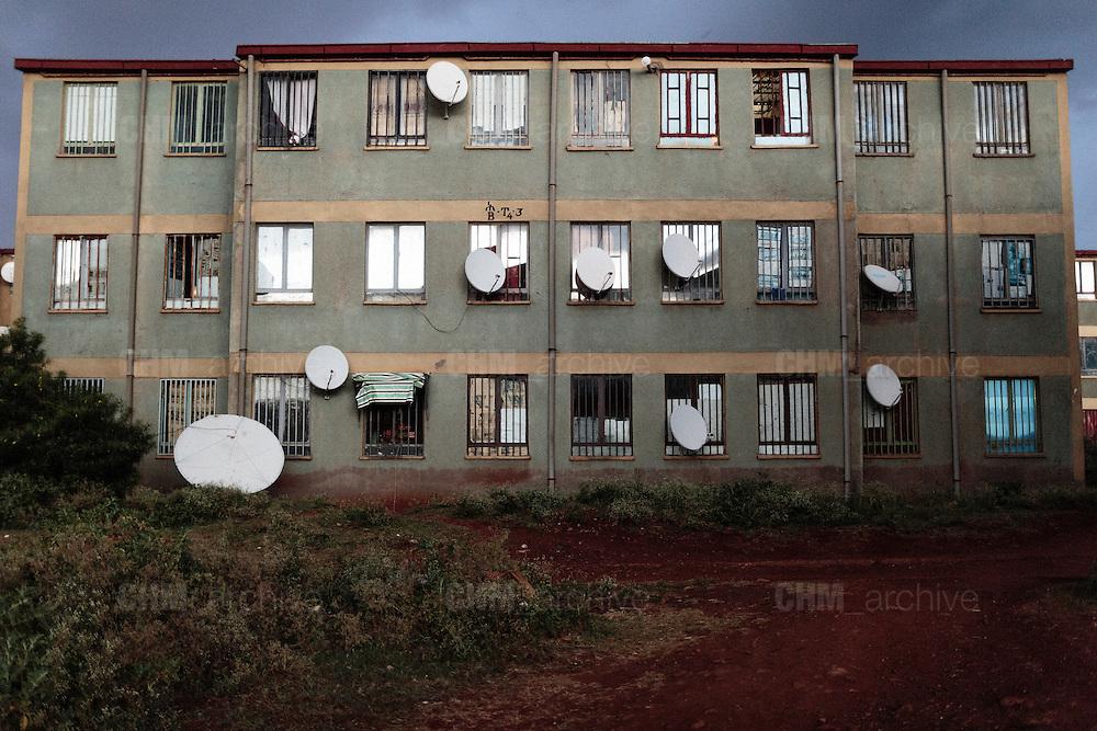 Alcuni dei nuovi condomini popolari che ospitano i residenti degli slums demoliti, Addis Ababa 16 settembre 2014.  Christian Mantuano / OneShot <br /> <br /> Some of the new housing projects hosting the inhabitants of the demolished slums, Addis Ababa September 16, 2014.
