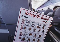 THEMENBILD - Safety on Board Hinweiskarte, aufgenommen am 17. August 2018 in Larnaka, Zypern // Safety on Board card, Larnaca, Zyprus on 2018/08/17. EXPA Pictures © 2018, PhotoCredit: EXPA/ JFK