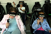 Children in a virtual reality game at Alton Towers