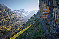 Photo of Berggasthaus Aescher-Wildkirchli, a mountain bed and breakfast on the Ebenalp Summit in Switzerland with a scenic view of the Swiss Alps