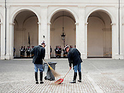 Carabinieri clean the square of the Quirinale Palace, residence of the President of the Republic. Rome, 14 November 2013. Christian Mantuano / OneShot