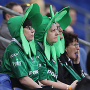 Fans watching the London Irish Vs Saracens Aviva Premiership Rugby match, the first Premiership game to be played overseas at Red Bull Arena, Harrison, New Jersey. USA. 12th March 2016. Photo Tim Clayton