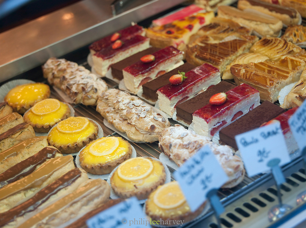 Cakes in a patisserie in Paris, France