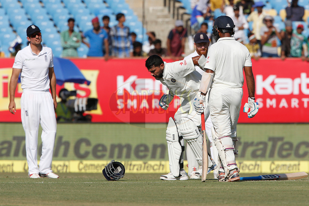 Murali Vijay of India reacts after hit with a ball during day 3 of the first test match between India and England held at the Saurashtra Cricket Association Stadium , Rajkot on the 11th November 2016.<br /> <br /> Photo by: Deepak Malik/ BCCI/ SPORTZPICS