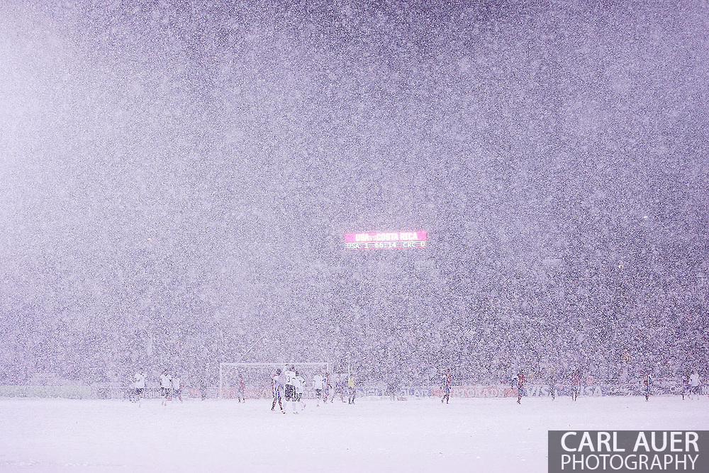 March 22nd, 2013 Commerce City, CO - A heavy snow storm hit during the World Cup qualifying match between Costa Rica and the USA Men's National Team at Dick's Sporting Goods Park in Commerce City, CO