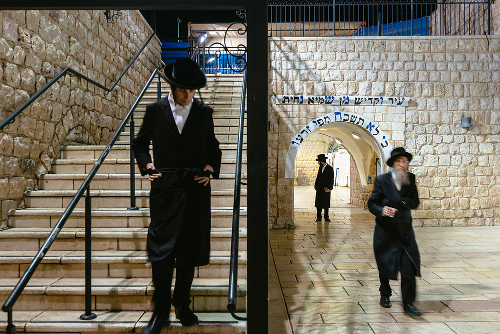 Ultra-orthodox Jewish men are seen at the grave of Rabbi Shimon Bar Yochai at Mount Meron in northern Israel, on February 27, 2020.