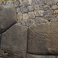 Huge, intricately hewn stone blocks at Sacsayhuamán, an massive Inca ruin near Cuzco, Peru, that was the site of one of their last decisive battles with Pizzaro and the Spanish conquistadors.