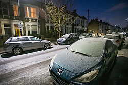 © Licensed to London News Pictures. 11/02/2021. London, UK. Cars frozen over in Kensal Green, London, following another night of sub zero temperatures in the capital. Photo credit: Ben Cawthra/LNP