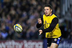 Sam Burgess of Bath Rugby passes the ball as he warms up on the sidelines - Photo mandatory by-line: Patrick Khachfe/JMP - Mobile: 07966 386802 28/11/2014 - SPORT - RUGBY UNION - Bath - The Recreation Ground - Bath Rugby v Harlequins - Aviva Premiership