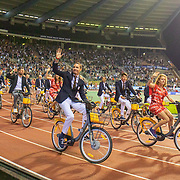 BRUSSELS, BELGIUM:  September 3:   The Olympians parade on bikes at the end of the Wanda Diamond League 2021 Memorial Van Damme Athletics competition at King Baudouin Stadium on September 3, 2021 in  Brussels, Belgium. (Photo by Tim Clayton/Corbis via Getty Images)
