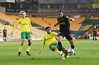 Football - 2020 / 2021 Sky Bet Championship - Norwich City vs Watford - Carrow Road<br /> <br /> Joao Pedro of Watford holds off the challenge from Max Aarons of Norwich City.<br /> <br /> COLORSPORT