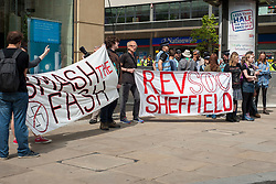 EDL return to Sheffield to lay flowers at Sheffield War Memorial<br /> <br /> 11:35 Anti EDLl Protesters begin to gather at the top of Far Gate/Bottom of Barkers Pool<br /> <br /> 8 June 2013<br /> Image © Paul David Drabble<br /> www.pauldaviddrabble.co.uk