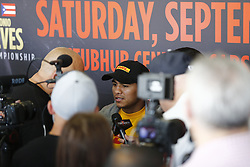 NORWALK, CA - SEPTEMBER 6  Roman Gonzalez (46-1-0, 38 KO's), of Managua, Nicaragua attends the media workout at the Legendz Boxing Gym for the upcoming  WBC Super Flyweight Championship Srisaket Sor Rungvisai vs Roman Gonzalez 2 Saturday Night at The StubHub Center in Carson, California. 2017 September 6.  Byline, credit, TV usage, web usage or link back must read SILVEXPHOTO.COM. Failure to byline correctly will incur double the agreed fee. Tel: +1 714 504 6870.