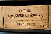 Case of fine wine Chateau Balestard La Tonnelle 2007 at Vignobles et Chateaux wine merchant in St Emilion, Bordeaux, France