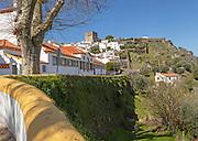 Townscape view of historic buildings and castle on hilltop , village of Castelo de Vide, Alto Alentejo, Portugal, southern Europe
