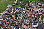 Nederland, Noord-Holland, Texel, 16-04-2012; Oosterend met kerk en kerkhof.Village of Oosterend at the isle of Texel. Church and gravyard..luchtfoto (toeslag), aeri