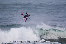 Sebastian Williams (MEX) surfing in Qualifying Round Heat 1 of the WSL Redbull Airborne event in Hossegor, France.