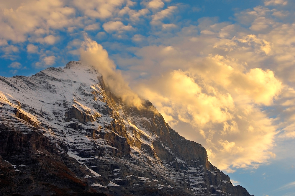 The Eiger North Face at sunset with clouds - Grinderalwd - Alps Switzerland .<br /> <br /> Visit our SWITZERLAND  & ALPS PHOTO COLLECTIONS for more  photos  to browse of  download or buy as prints https://funkystock.photoshelter.com/gallery-collection/Pictures-Images-of-Switzerland-Photos-of-Swiss-Alps-Landmark-Sites/C0000DPgRJMSrQ3U