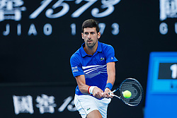 January 27, 2019 - Melbourne, VIC, U.S. - MELBOURNE, VIC - JANUARY 27: NOVAK DJOKOVIC (SRB) during day fourteen match of the 2019 Australian Open on January 27, 2019 at Melbourne Park Tennis Centre Melbourne, Australia (Photo by Chaz Niell/Icon Sportswire (Credit Image: © Chaz Niell/Icon SMI via ZUMA Press)
