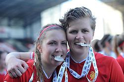 Liverpool Ladies' Louise Fors and Liverpool Ladies' Katrin Omarsdottir with their winners medals - Photo mandatory by-line: Dougie Allward/JMP - Tel: Mobile: 07966 386802 29/09/2013 - SPORT - FOOTBALL - Halton Stadium - Widness - Liverpool Ladies V Bristol Academy WFC - Womens Super League - Title Decider