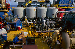 Stock photo of fluid tanks aboard an offshore drilling rig