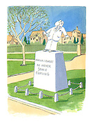 (A public park with a statue of a man receiving a custard pie in his face. The inscription on the statue's plinth reads: 'Harold J Codsby. He never saw it coming')
