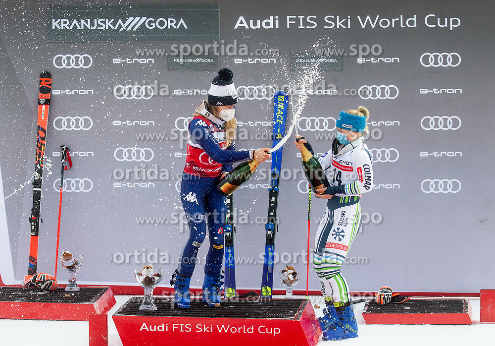 Winner Marta Bassino (ITA) and third placed Meta Hrovat (SLO) celebrate during trophy ceremony after 2nd Run of Ladies' Giant Slalom at 57th Golden Fox event at Audi FIS Ski World Cup 2020/21, on January 17, 2021 in Podkoren, Kranjska Gora, Slovenia. Photo by Vid Ponikvar / Sportida