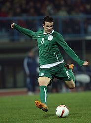 Mirnes Sisic (8) of Slovenia during the UEFA Friendly match between national teams of Slovenia and Denmark at the Stadium on February 6, 2008 in Nova Gorica, Slovenia. This was the first time he played for Slovenia national team. Slovenia lost 2:1. (Photo by Vid Ponikvar / Sportal Images).