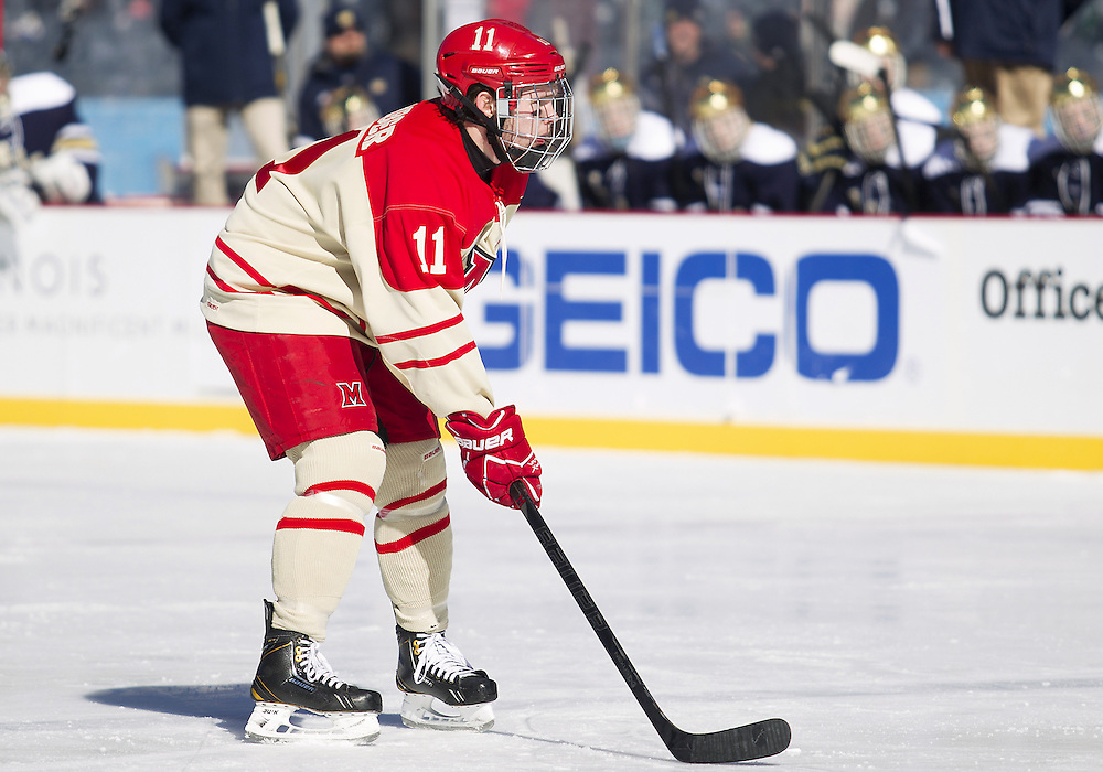 February 17, 2013:  Miami forward Riley Barber (11) during NCAA Hockey game action between the Notre Dame Fighting Irish and the Miami Redhawks at Soldier Field in Chicago, Illinois.  Notre Dame defeated Miami 2-1.