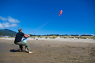 """Neahkahnie Beach in Manzanita, Oregon, a small beach town located in Tillamook County on the Northern Oregon coast.  Manzanita means """"little apple"""" in Spanish.  Neahkahnie Mountain is located at the north end of the 7 mile long beach.  A father and daughter flying kites in the strong, onshore winds"""