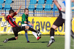 Miroslav Cvijanovic (5) of Primorje and Nik Omladic (21) of Rudar  at 6th Round of PrvaLiga Telekom Slovenije between NK Primorje Ajdovscina vs NK Rudar Velenje, on August 24, 2008, in Town stadium in Ajdovscina. Primorje won the match 3:1. (Photo by Vid Ponikvar / Sportal Images)