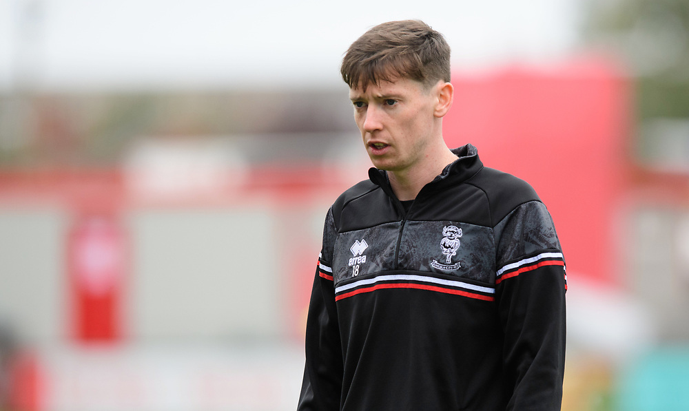 Lincoln City's Conor McGrandles during the pre-match warm-up<br /> <br /> Photographer Chris Vaughan/CameraSport<br /> <br /> The EFL Sky Bet League One - Lincoln City v Charlton Athletic - Sunday 27th September, 2020 - LNER Stadium - Lincoln<br /> <br /> World Copyright © 2020 CameraSport. All rights reserved. 43 Linden Ave. Countesthorpe. Leicester. England. LE8 5PG - Tel: +44 (0) 116 277 4147 - admin@camerasport.com - www.camerasport.com