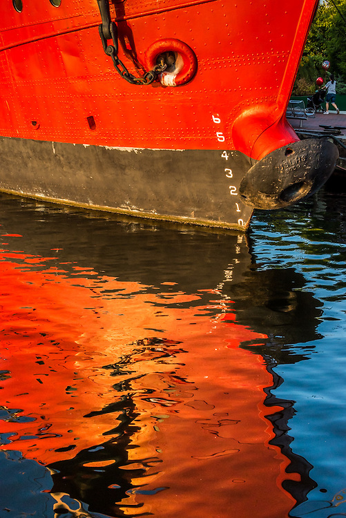 Red ship reflection in the Inner Harbor of Baltimore