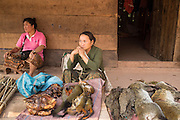"""15 MARCH 2013 - OUDOMXAY, LAOS: Women sell """"bush meat,"""" small game animals killed by hunters, at a road side stand on Highway 13 in rural Laos. Bush meat is technically illegal but still very popular. Some of it is expensive - about 300,000 Lao Kip or $35US for one animal.   PHOTO BY JACK KURTZ"""