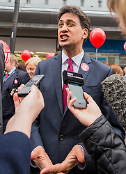 Labour leader Jeremy Corbyn, previous leader Ed Miliband, the Doncaster MP and Caroline Flint the MP for Don Valley on the Labour In campaign trail at Doncaster encouraging voters to remain in the EU at the referendum of 23rd June<br /> <br /> (c) John Baguley   Edinburgh Elite media