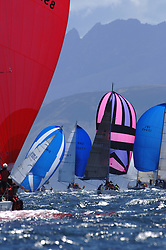 The final day of the Bell Lawrie Scottish Series, breezy and bright conditions from the North allowed the sailors to compete on a level par.<br /> <br /> IRC Classes Downwind with Arran as a backdrop. With GBR8569 in the centre