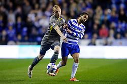 Ritchie De Laet (BEL) of Leicester City is challenged by Jobi McAnuff (JAM) of Reading - Photo mandatory by-line: Rogan Thomson/JMP - 07966 386802 - 14/04/2014 - SPORT - FOOTBALL - Madejski Stadium, Reading - Reading v Leicester City - Sky Bet Football League Championship.