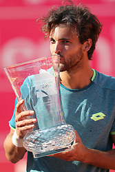 May 6, 2018 - Estoril, Portugal - Joao Sousa of Portugal kisses the trophy after winning the Millennium Estoril Open ATP 250 tennis tournament final against Frances Tiafoe of US, at the Clube de Tenis do Estoril in Estoril, Portugal on May 6, 2018. (Credit Image: © Pedro Fiuza via ZUMA Wire)