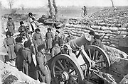 Russo-Japanese War 1904-1905.  Russian six inch howitzer battery during the defence of Port Arthur.