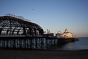 Half destroyed remains of Eastbourne Pier following a fire. The Pier suffered a fire on July 30, 2014 that ripped through a large amount of the central domed building. Sussex Police initially said that the fire was not to be treated suspiciously, though later the police said arson was suspected.