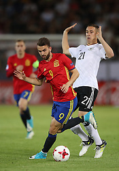 Spain's Moya Borja Mayoral (left) and Germany's Dominik Kohr battle for the ball