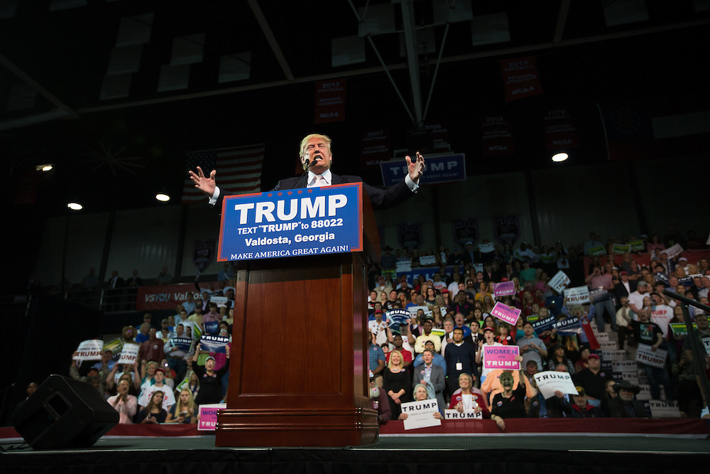 Republican presidential candidate Donald Trump speaks at a rally at Valdosta State University in Valdosta, Ga. on Monday, Feb. 29, 2016. Photo by Kevin D. Liles for The New York Times